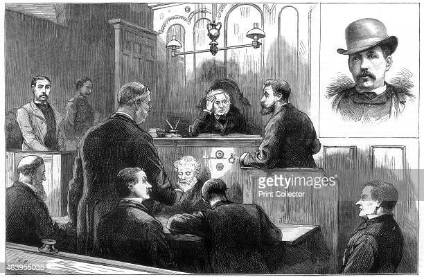 Examination of John Daly alias Denman at the Birkenhead police court 1884 Court case involving 'the dynamite plot' Illustration from the The Graphic