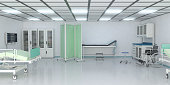 Examination Room in hospital with medical equipment. ( 3d render )