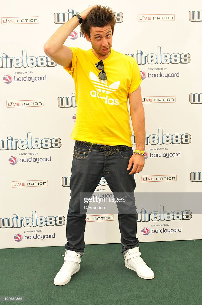 Example aka Elliot Gleave poses backstage during the second day of the Wireless Festival in Hyde Park on July 3, 2010 in London, England.