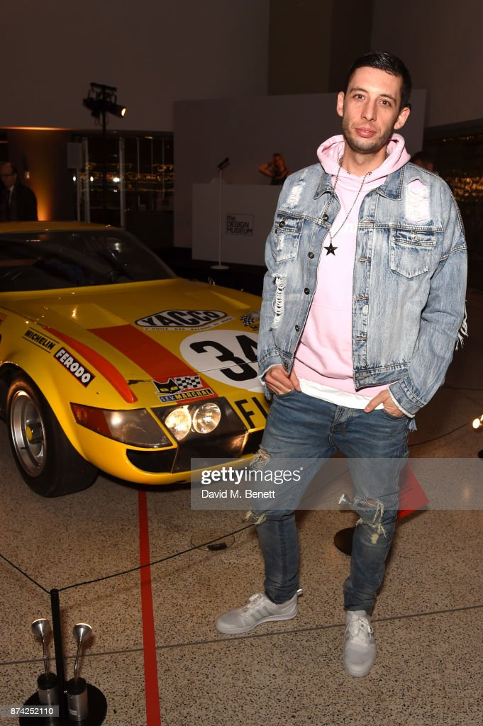 Example attends a private view of the 'Ferrari: Under The Skin' exhibition hosted by Deyan Sudjic and Alice Black, Directors of the Designb Museum, London