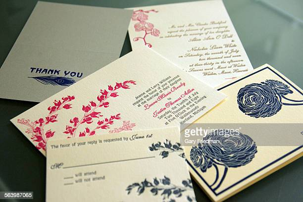 Examples of wedding related invitations/cards produced by Christine Brandt of Flora and Fauna which was printed on a Bandercook @@#4 proof press that...