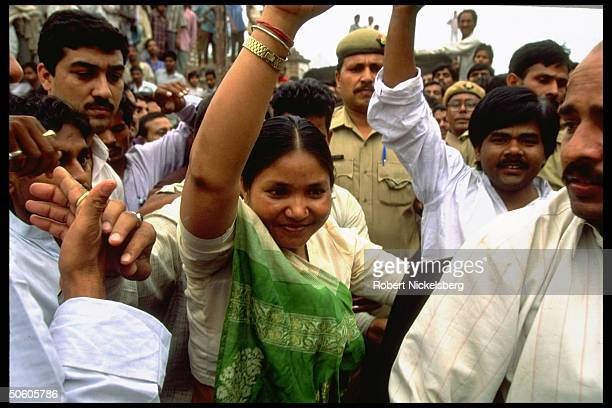 Exbandit queen Phoolan Devi lower caste empowerment platform party election cand for Parliament campaigning in Mirzapur district