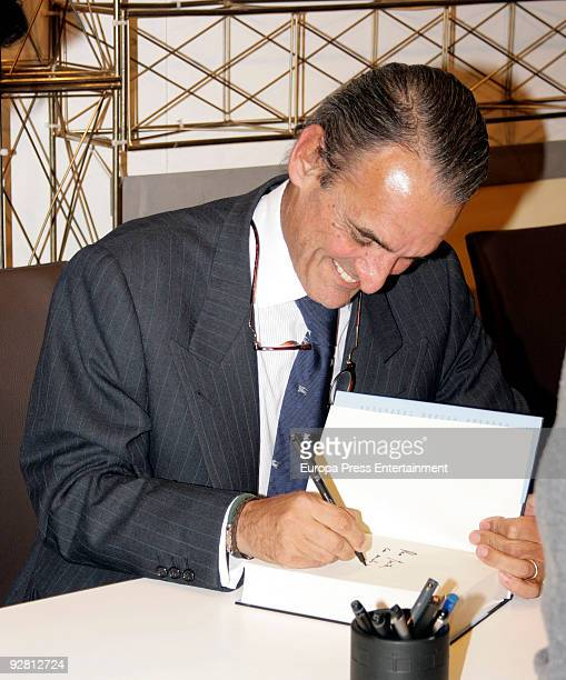 Exbanker Mario Conde signs copies of his latest book ''Prisoner Memories' on November 5 2009 in Madrid Spain