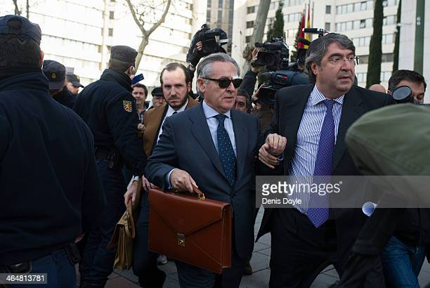 ExBankia president Miguel Blesa leaves a Madrid courthouse after giving evidence relating to the collapse of the Spanish bank Bankia on January 24...
