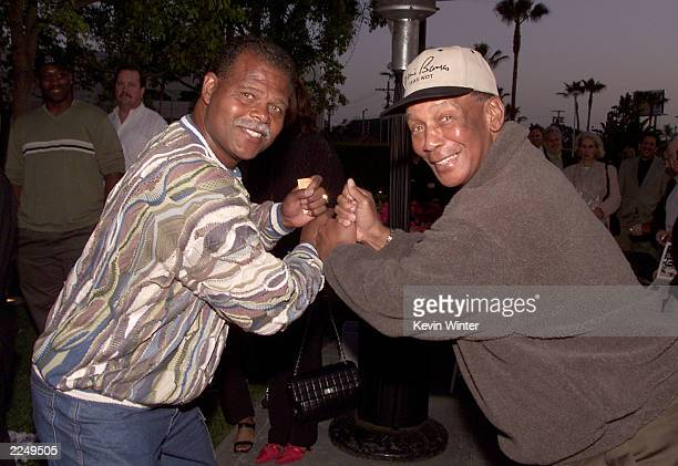 Exbaseball player Reggie Smith and Hall of Famer Ernie Banks at HBO's screening of '61*' at Paramount Studios in Los Angeles Ca 4/16/01 Photo by...