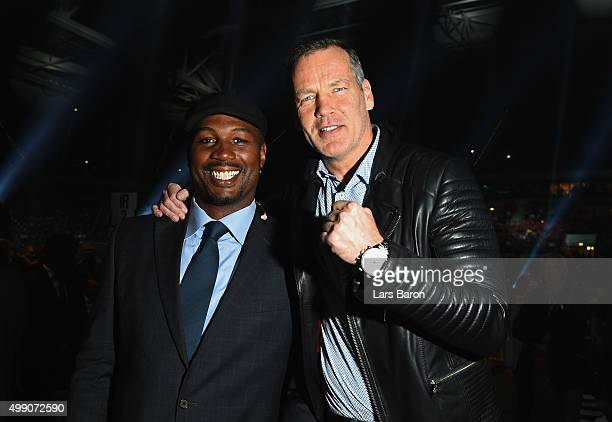 Exboxers Lennox Lewis and Henry Maske pose prior to the IBF IBO WBA WBO Heavyweight World Championship contest between Wladimir Klitschko and Tyson...