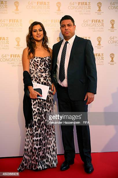 ExBrazil international footballer Ronaldo and his wife Paula Morais arrive during the Opening Ceremony of the 64th FIFA Congress at the Transamerica...