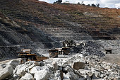 Excavation equipment operates on the open pit floor at the Kibali gold mine operated by Randgold Resources Ltd in Kibali Democratic Republic of Congo...