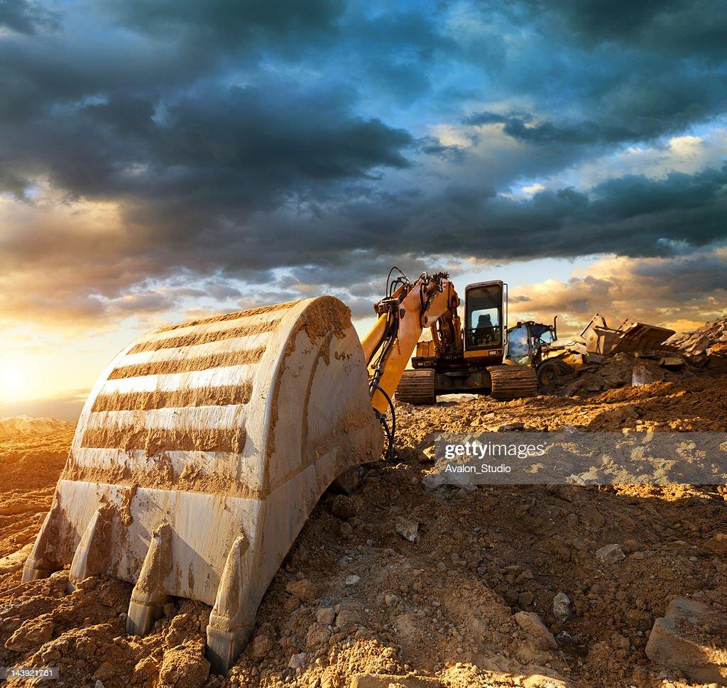 Excavator at Construction Site : Stock Photo