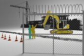 Construction heavy  excavator machine one a white background and workers explain eatch other what they must do