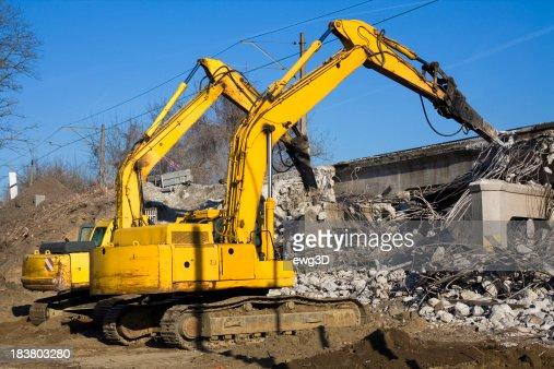 Excavators destroy the old viaduct