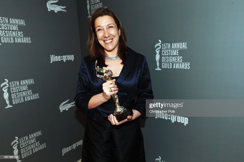 Excellence in Fantasy Film award recipient Jacqueline Durran poses with award at the 15th Annual Costume Designers Guild Awards with presenting sponsor Lacoste at The Beverly Hilton Hotel on February 19, 2013 in Beverly Hills, California.