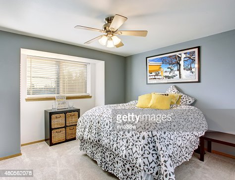 Excellent bedroom with grey walls. : Stock Photo