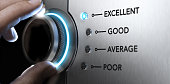 Hand turning a knob to the top position, blue light and blur effect. Concept image for excellent customer service.