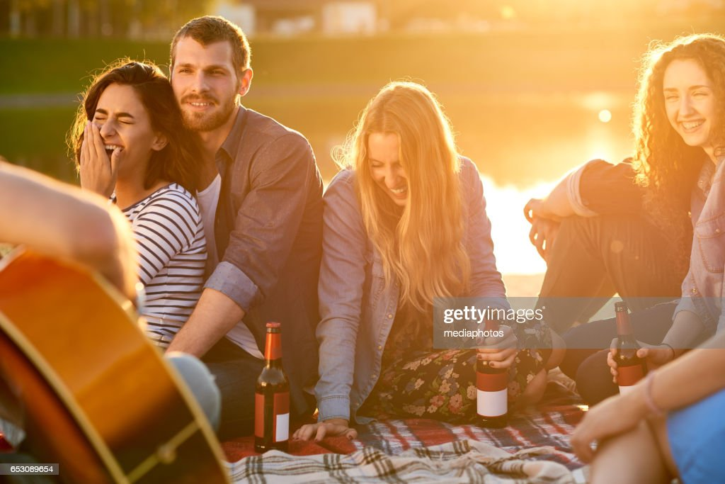 Excellent evening with friends : Stock Photo