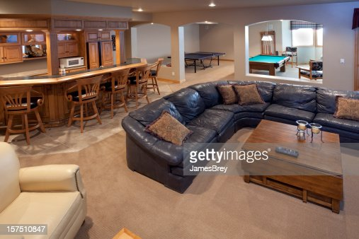 Excellent Finished Basement Bar Lounge Game Room Pool Table Sofa - Sofa game