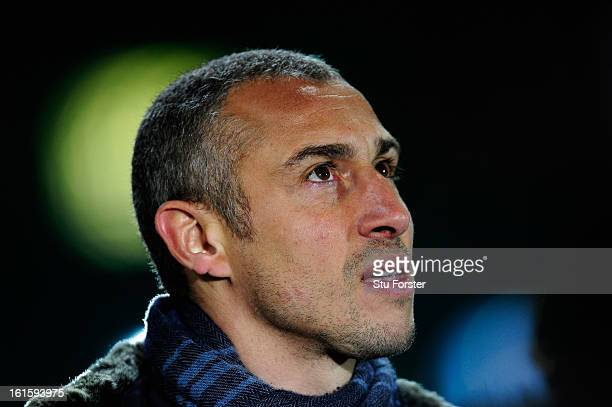 ExCeltic player Henrik Larsson looks on prior to the UEFA Champions League Round of 16 first leg match between Celtic and Juventus at Celtic Park...