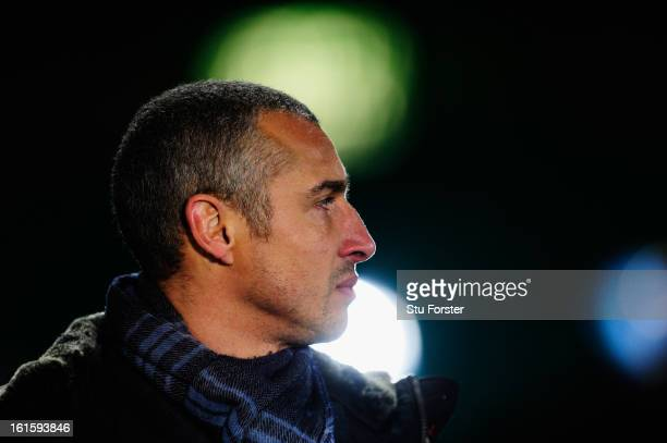 ExCeltic player Henrik Larsson speaks to the media prior to the UEFA Champions League Round of 16 first leg match between Celtic and Juventus at...