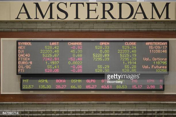 Exchange and company stock price information is displayed on screens inside the Amsterdam Stock Exchange operated by Euronext NV in Amsterdam...