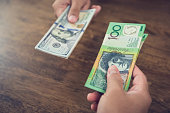 Exchanging money between US dollar (USD) and Australian dollar (AUD) banknotes