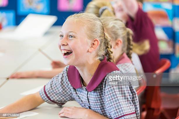Excited and Happy Young School Girl