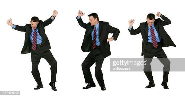 Aufgeregt Geschäftsmann Tanzen