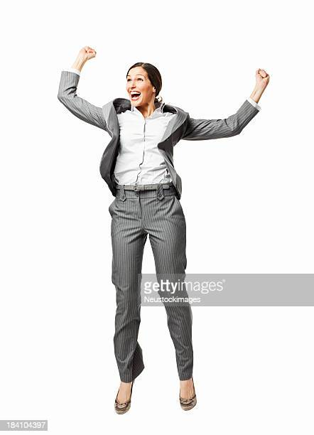 Excited Businesswoman Jumping in the Air - Isolated