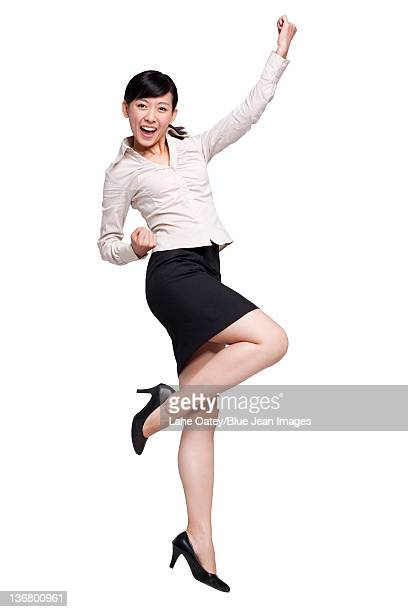 Excited Businesswoman Jumping