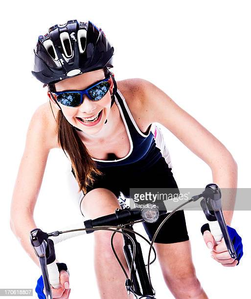 Excited cyclist