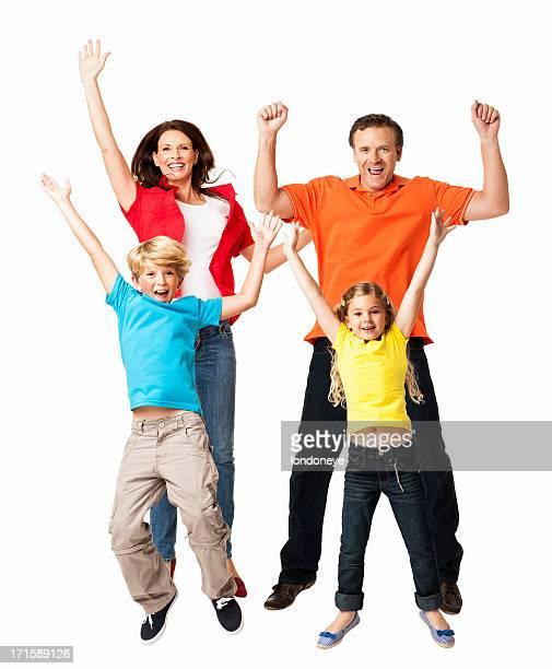 Aufgeregt Familie springen zusammen-isoliert