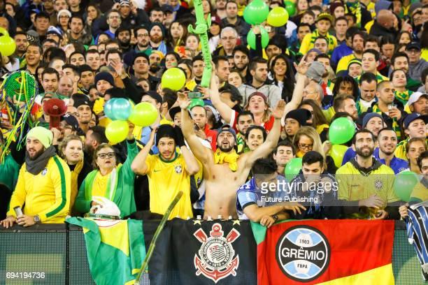 Excited fans before Brazil plays Argentina in the Chevrolet Brasil Global Tour on June 9 2017 in Melbourne Australia Chris Putnam / Barcroft Images...