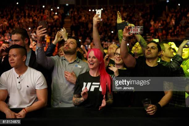 Excited fans before the main event Michael Bisping of Great Britain versus Anderson Silva of Brazil at the UFC Ultimate Fighting Championship fight...