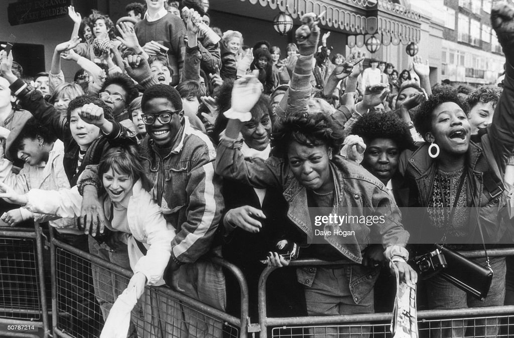 Excited fans of American pop singer Michael Jackson await his arrival, 1985.