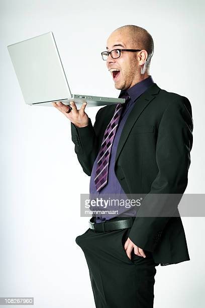 Excited Funny Businessman - Laptop