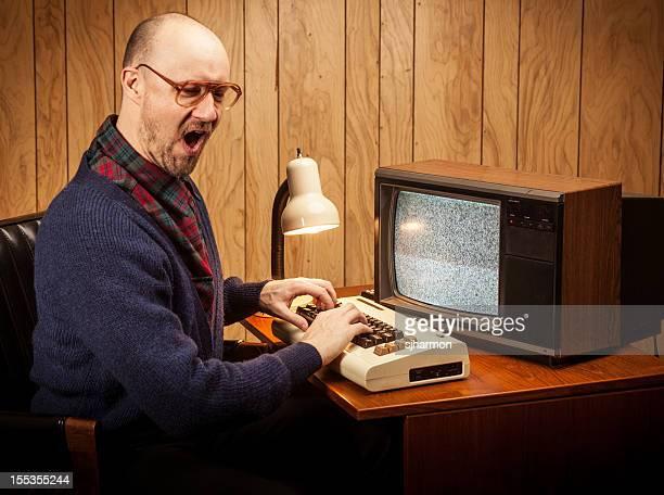 Excited Geeky Nerd Computer Science work man vintage style