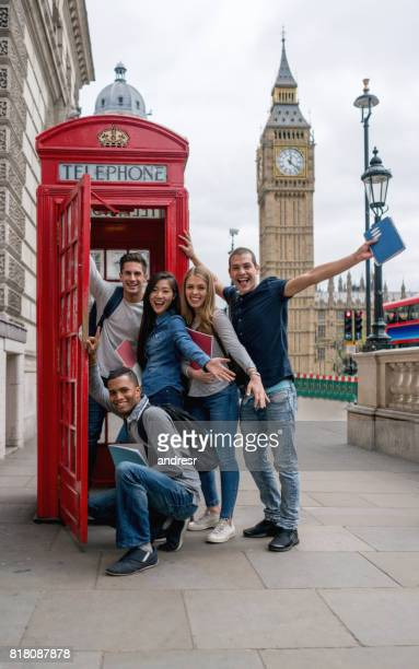 Excited group of exchange students in London