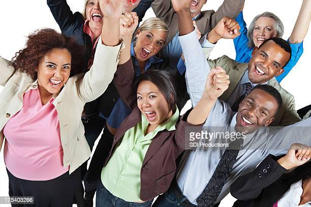Excited group of people with their arms high