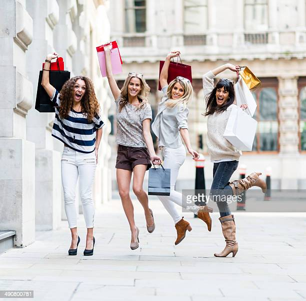 Excited group of women shopping