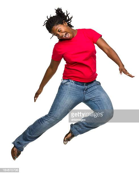 Excited Jumping Woman