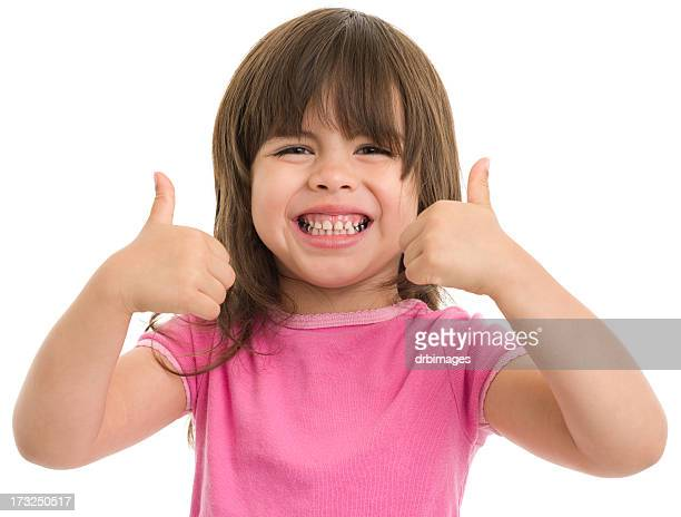 Excited Little Girl Gives Thumbs Up