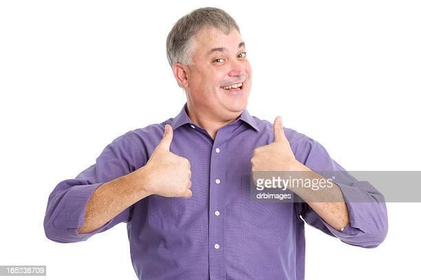 Aufgeregt Mann gibt zwei Daumen hoch
