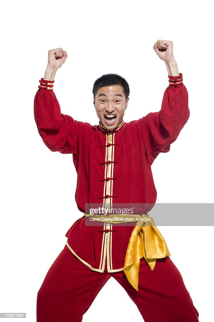 Excited Man In Traditional Chinese Clothing Stock Photo ...