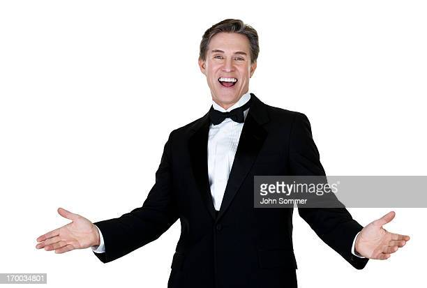 Excited man wearing a tuxedo