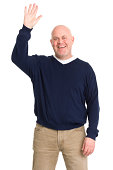 Excited Mature Man Waves Hello