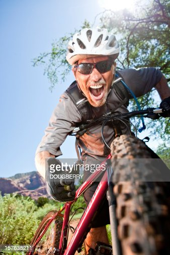 Excited Mountain Biker