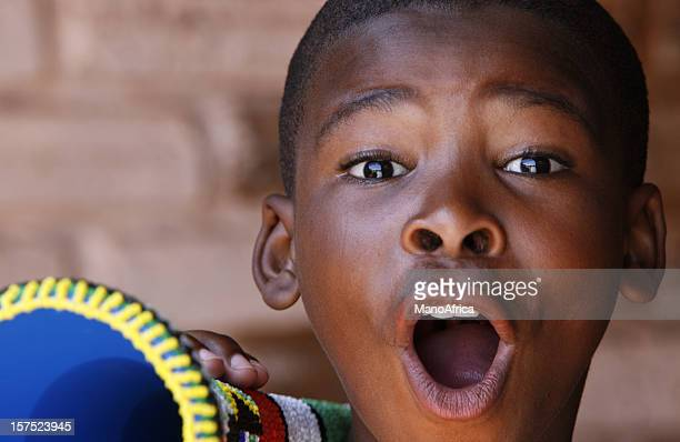 Excited South African soccer fan