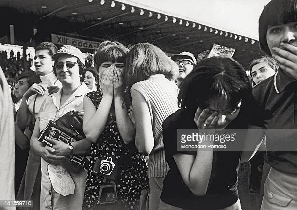 Excited spectators at the Beatles concert held at the Velodromo Vigorelli Milan 24th June 1965