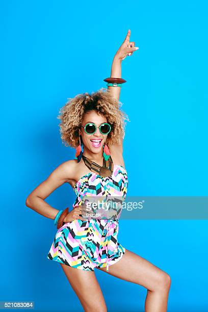 Excited summer afro young woman