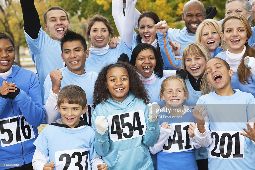 Excited team at a charity race