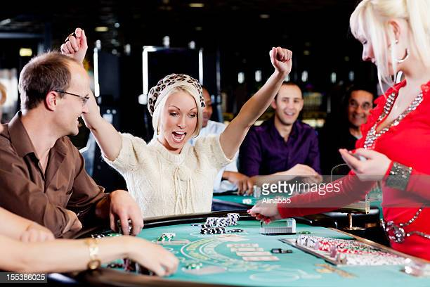 Excited winner at the blackjack table